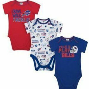 NWT - NFL Buffalo Bills 3-Pack Onesies - Sz 3-6M